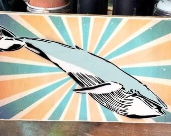 Humpback Whale Mixed Media Graffiti Pop Art Painting on Photo Transfer Original Art on Handmade Canvas Home Decor Pop Art Gallery