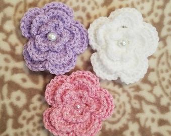Flower Hair Clip Set, flower clip, crochet flower, hair accessory, girl's clip, flower hair accessories