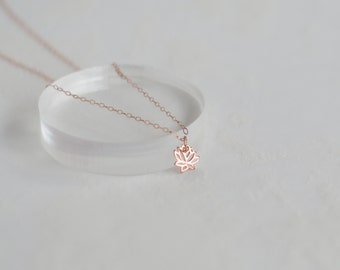 Rose Gold Lotus Necklace, Dainty Lotus Necklace, Yoga Necklace, Sterling Silver Lotus Necklace, Gold Lotus Necklace
