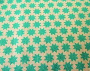 Printed cotton fabric patterns 1 cm green stars