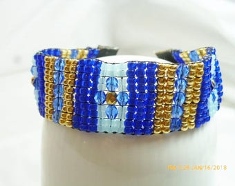 Beaded Bracelet in Shades of Blues and Galvanized Gold with Fire Polished Beads, & Seed Beads