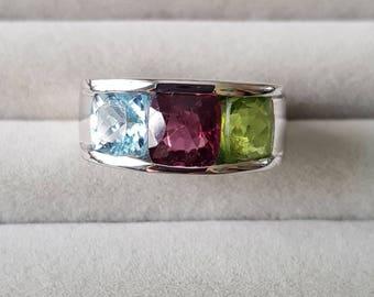 3 Gemstone Mens Ring.Aquamarine blue Spinel pink Peridot green..