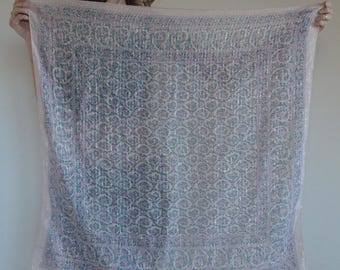 70's indian cotton gauze scarf with metallic silver thread