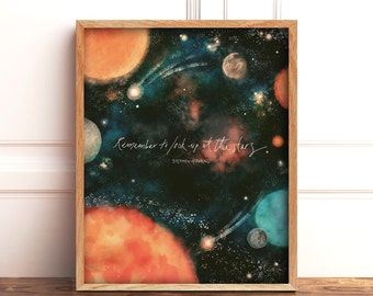 Solar System Poster, Astronomy Quote Science Gift, Watercolor Galaxy Art Print, Outer Space Quotes, Stephen Hawking, 8x10 Space Wall Art