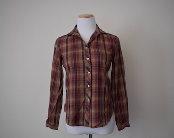 FREE usa SHIPPING vintage women's acrylic button up shirt plaid retro hipster grunge size 8