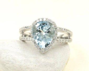 Aquamarine Engagement Ring/2.0Ct Aquamarine & 0.56 Ct High Quality Diamond Ring/Women's 14k Rose Gold Engagement Ring