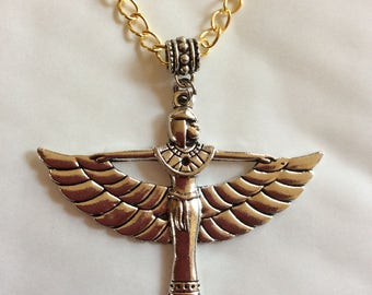 "Egyptian goddess Isis pendant silver tone necklace 46cm /18""  gold tone chain  Winged goddess"