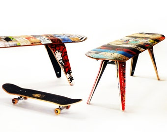 "Skateboard Bench - 60"" Three seater. Modern Recycled Skateboard Furniture designed and handmade by Deckstool."