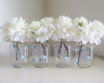 Blue Polka Dot Mason Jar Centerpieces, Baby Shower Mason Jars, Baby Boy  Party, Mason Jar Decor, Painted Ball Jars, Rustic Polka Dot Vases