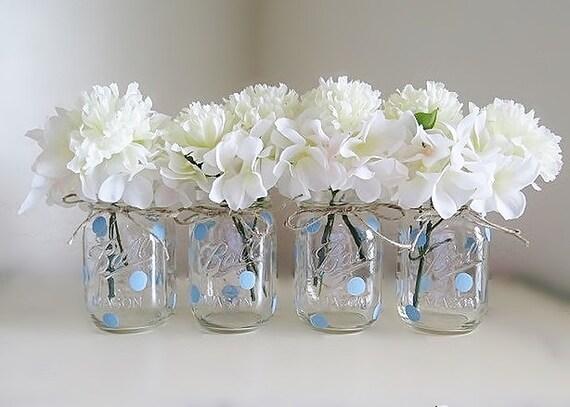 Blue Polka Dot Mason Jar Centerpieces Baby Shower Mason Jars