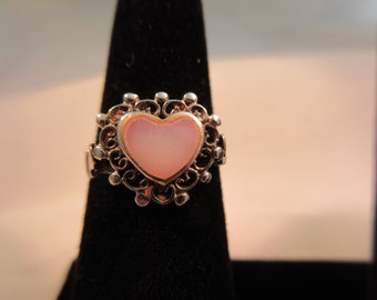 Vintage Sterling Silver Mother of Pearl Heart Ring
