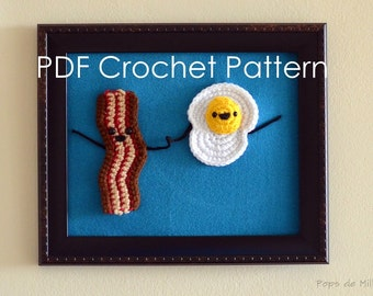 Bacon and Egg Crochet Art PDF Pattern
