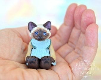 Cat Art Doll, OOAK Original Ragdoll Kitten, Miniature Hand Painted Folk Art Figurine Sculpture, Claudette by Max Bailey