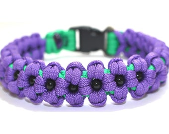 """Paracord Dog or Puppy Collar - Handmade -Purple Poppies - Neck Size 11"""""""