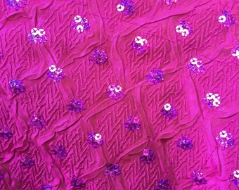 54 inch wide taffeta with sequins, magenta.