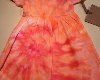 12-18 mth peach orange ice dyed dress 12-18mth