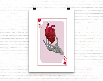 Queen of Hearts Cards with Skeleton Hand Holding Heart // Print