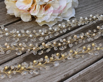New!!! Gold Crystal and Pearl Hair Vine, Bridal Hair Vine, Wedding Hair Comb, Bridal Headband