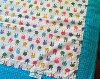 Toddler blanket - Quilt Cover - Kids blanket - Flannel Blanket - girls blanket -cotton blanket- Summer Blanket Travel blanket - blue bunny