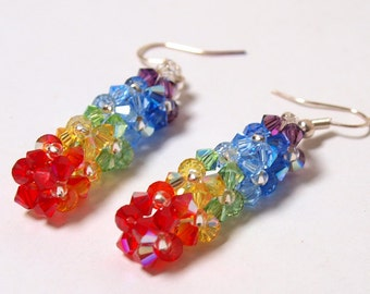 Tutorial and Instruction - How to make Swarovski Rainbow Square Earrings and Pendant- Digital download