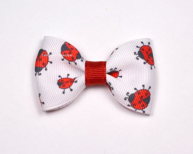 Lady Bug Hair Bow ~ 2.5in Tuxedo Bow ~ Simple Bow ~ Boutique Bow for Babies Toddlers Girls Hair Bows ~ No Slip Grip