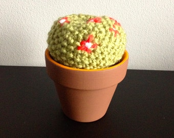 GetWoolly Cactus, succulent, hand knitted, terracotta pot, short and round with red flowers