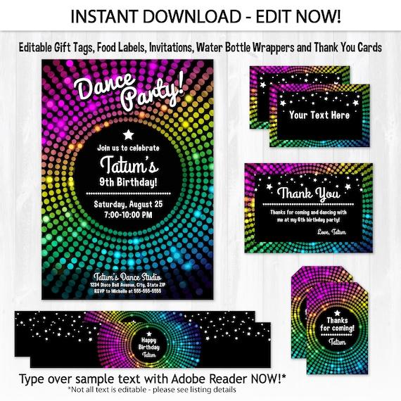 Dance Party Invitations Disco Dance Birthday Invitations