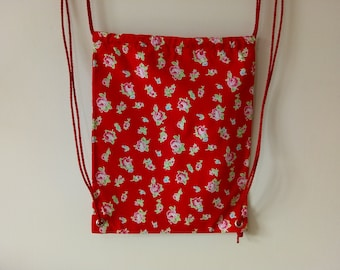 Rose Print Drawstring Backpack / Bag