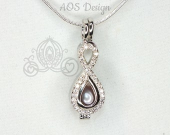 Pick A Pearl Crystal Infinity Pearl Cage Silver Plated Locket Symbol Crystal Accents Necklace Chain