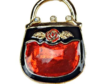 Black and Red Purse Brooch with Rose Handbag