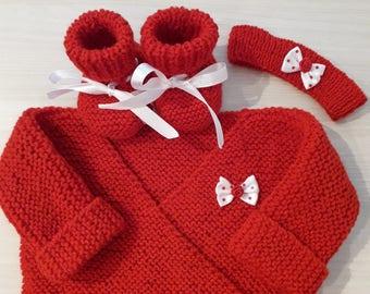 Bra slippers red headband 0/3 months