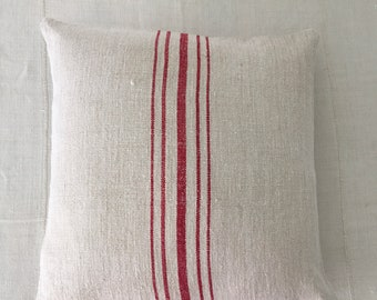 Vintage Hungarian Hand Spun Red Striped Linen Cushion Pillow COVER ONLY  for Rustic Interior Homeware