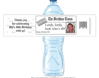 Photo Labels, Water Bottle Labels, Waterproof Labels, Over the Hill Party, Retirement Party, 40th Birthday, 50th Birthday (Set of 24)(Y100)