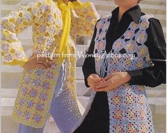 Vintage Crochet Coat waistcoat Pattern PDF 880 from WonkyZebra