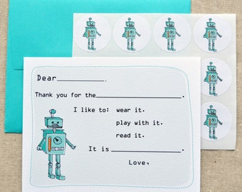 Robot Fill-in-the-Blank Thank You Notes Gift Set with Stickers