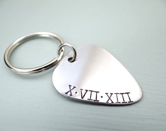 Roman Numeral Keychain - Hand Stamped Guitar Pick Keychain With Roman Numerals. Date, Sobriety Date, Birthday, Anniversary. Gifts for Guys