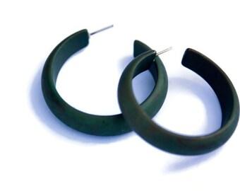 Dark Green Hoops | Evergreen Marbled Matte Hoop Earrings | vintage lucite midi hoop earrings