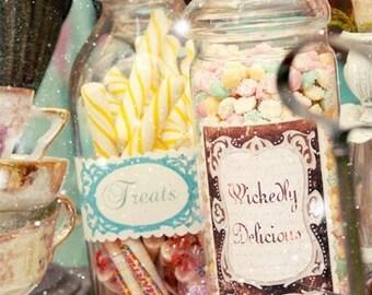 12- Wonderland Inspired Candy Jar Stickers