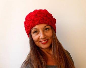 Beauty Gift. Women's Knit Wool Hat Slouchy Hat Beret Chunky Hat - Pompom Hat -  Red Beret / Chunky / Pom pom /Baggy / Beanie