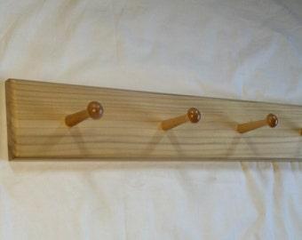 Solid  Poplar 4-Peg Wall Mount Coat Rack