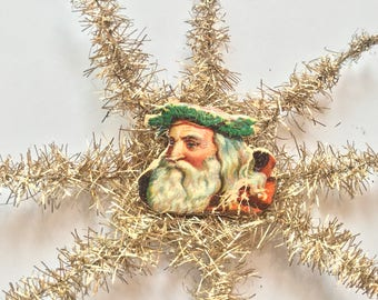Victorian Antique Ornament, Fancy tinsel Star Ornament with Litho Santas ,Made in Germany