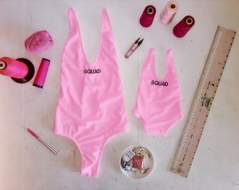 One piece swimsuit // mother and daugther swimsuit // mummy and me outfit // bathing suit // matching swimsuit // pink swimsuit