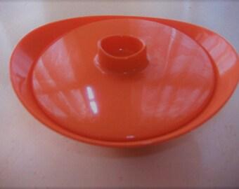Vintage 60's Gorgeous Tangerine Melamine Sugar Bowl. Bright Sunny Orange. Sugarbowl. Melmac.