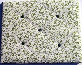Olive Green Swirls on Ivory Memory Board French Memo Board, Fabric Ribbon Memo Bulletin Board, Fabric Pin Board, Ribbon Photo Board, Office