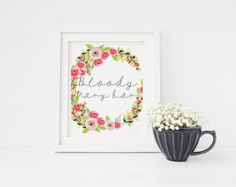 Bloody Mary bar sign   Wedding bloody Mary bar sign   Sign for wedding bloody Mary bar   Bloody Mary watercolour floral wedding sign S3
