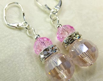 Pink Cut Glass Crystal Beads Dangle Earrings Rhinestone Accents Lever back Ear wires