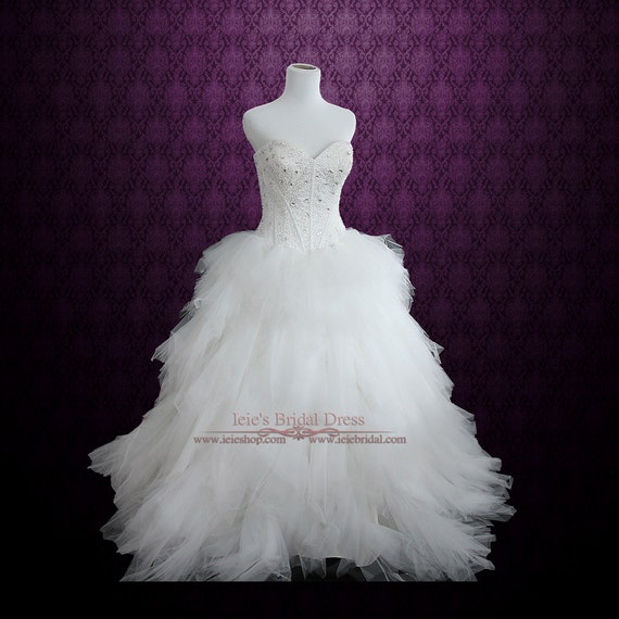 Strapless Princess Ball Gown Wedding Dress with Tulle Feather