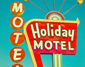 Las Vegas Holiday Motel Sign Neon Sign Mid Century Modern Wall Art Retro Home Decor Vintage Home Decor Wall Art Large Wall Art Retro Art