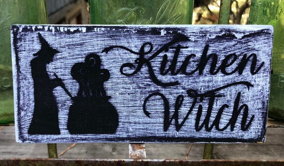 Kitchen Witch Hand Painted Wood Sign Primitive Kitchen