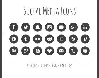 Social Media Icons - 21 icons in 3 sizes, PNG files, dark grey, flat style